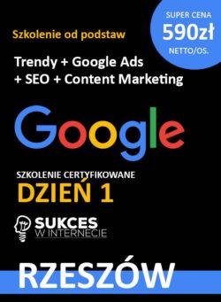 Szkolenie Google Ads + SEO od podstaw w Rzeszowie
