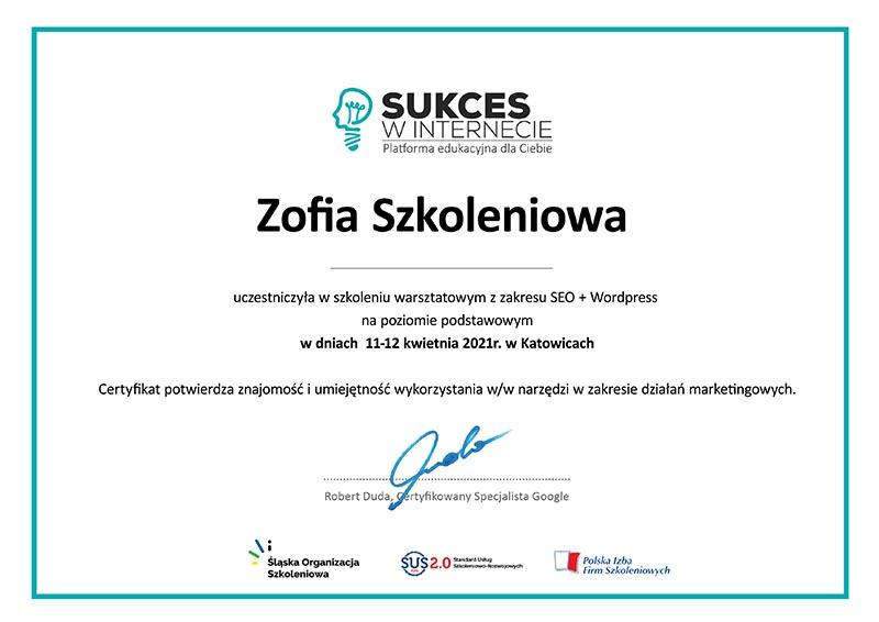 Certyfikowane Szkolenie SEO + WordPress